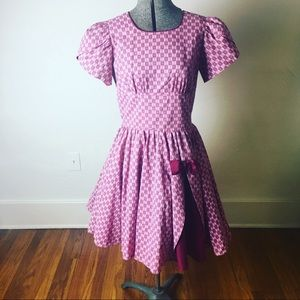 Dresses & Skirts - Vintage 1950s Adorable Pink & Cranberry Dress